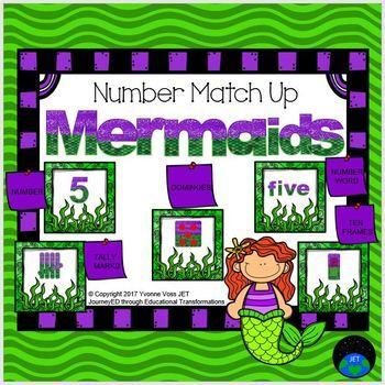Mermaid Number Match Up Math Center
