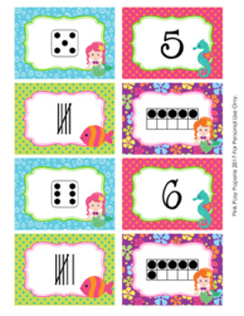 Mermaid Numbers 1-10 Match Activity