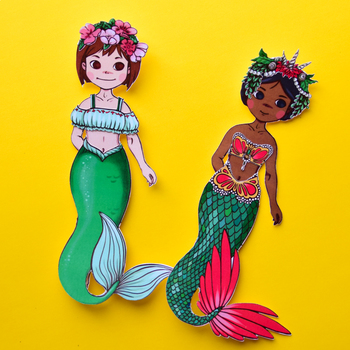 Mermaid Paper Dress-Up Dolls: Printable Template