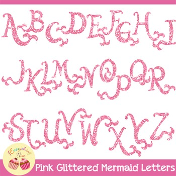Mermaid Pink Glittered Glitters Letters Clipart Set