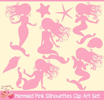 Mermaid Pink Silhouettes Clipart Set