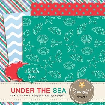 Mermaid Princess, Under the Sea Digital Papers,