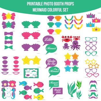 Mermaid Colorful Printable Photo Booth Prop Set
