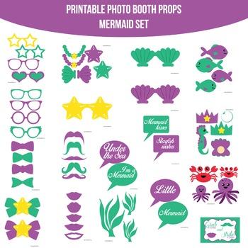 Mermaid Printable Photo Booth Prop Set