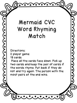 Mermaid Rhyming Phonics Game