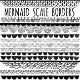 Mermaid Scale Border ClipArt, Black Line Page Divider Accents