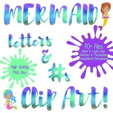 Mermaid Scale Foil Letters and Numbers Clip Art