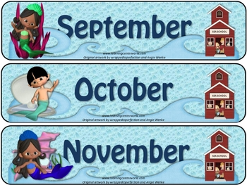Mermaid School - Calendar set