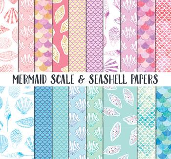 Mermaid Scrapbook Paper, Sea shell Papers, mermaid scales background papers
