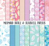 Mermaid Scrapbook Paper, Sea shell Papers, mermaid scales