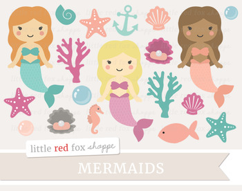 Mermaid Set Clipart; Ocean, Sea, Mythical