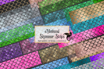 Mermaid Shimmer Strips Clipart, glitter mermaid scale clip art overlays