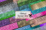 Mermaid Shimmer Strips Clipart, glitter mermaid scale clip