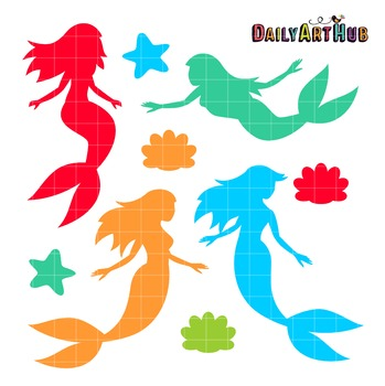 Mermaid Silhouettes Art Clip Art - Great for Art Class Projects!