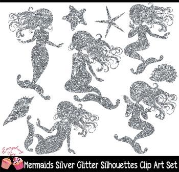 Mermaid Silver Glitter Silhouettes Clipart Set