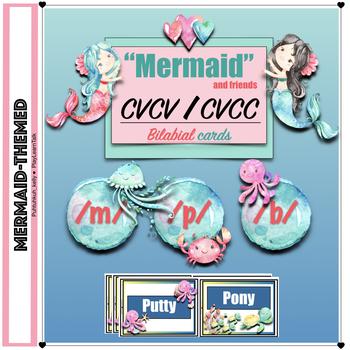 Mermaid Speech Therapy: CVCV/CVCC Bilabial Articulation Cards