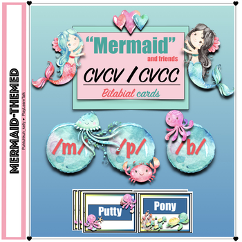 Mermaid Speech Therapy: CVCV/CVCC Bilabial Articulation Cards