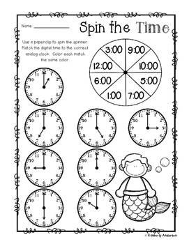 Mermaid - Spin the Time: Telling time to the :00 (o'clock)