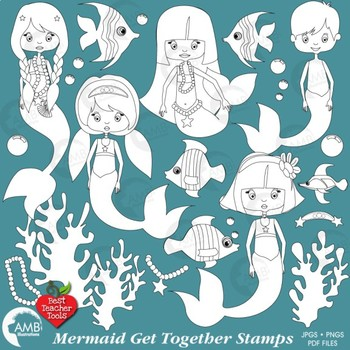 Mermaid Stamps Clipart, Mermaids, Nautical clipart, {Best Teacher Tools} AMB-388