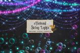 Mermaid String Lights Clipart, overlays, glitter sparkle bokeh lights