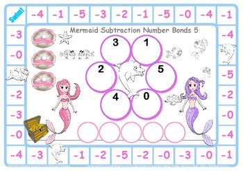 Mermaid Subtraction Number Facts to 5