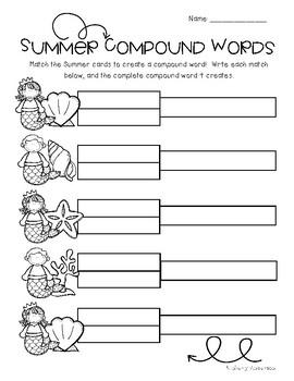 Mermaid / Summertime: Compound Word Match Center