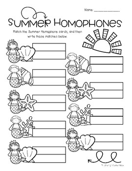 Mermaid / Summertime: Homophone Word Match Center