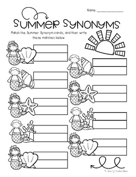 Mermaid / Summertime: Synonyms Match Center (Basic)