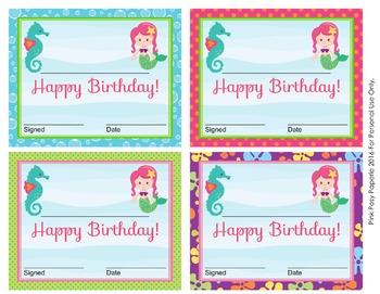 Mermaid Theme Birthday Certificates