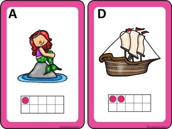 Mermaid Theme Count The Room Ten Frames 1-10 and 11-20