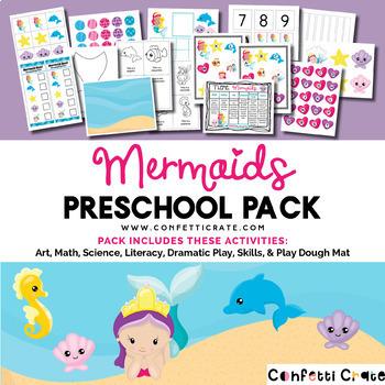 Mermaid Activities Preschool (color and black & white version)