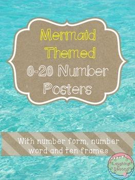 Mermaid Themed 0-20 Numbers Posters