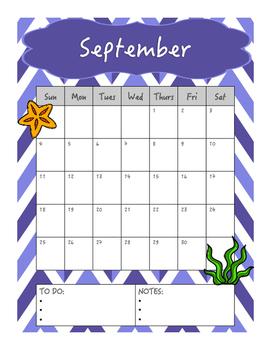 Single Page Monthly Calendar (Mermaid Theme)