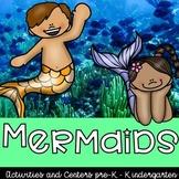 Mermaid and Merman Theme Preschool and Kindergarten Centers and Activities