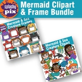Mermaid and Sea Creature Clipart and Frame Bundle