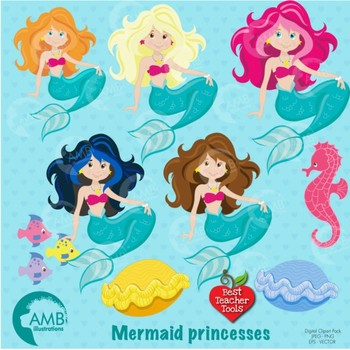 Mermaid Clipart, Pretty Mermaids Digital Download, Clipart