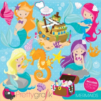Mermaid clipart commercial use, vector graphics, digital - CL741