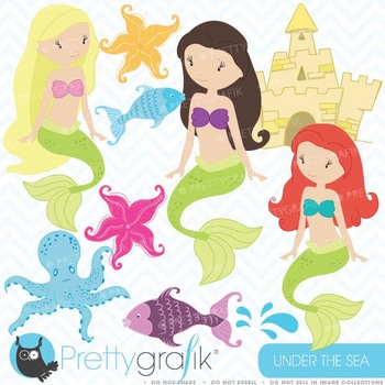Mermaid clipart commercial use, vector graphics, digital c
