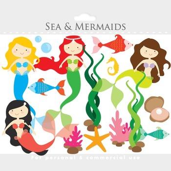 Mermaid clipart - mermaids clip art, little, sea, ocean, fish, seaweed, ocean