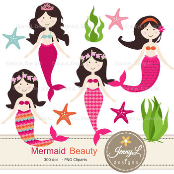 Mermaid digital paper and clipart