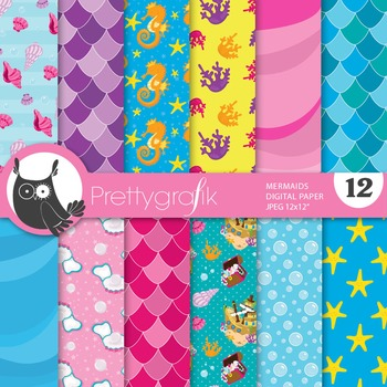 Mermaid ocean digital paper, commercial use, scrapbook papers - PS664