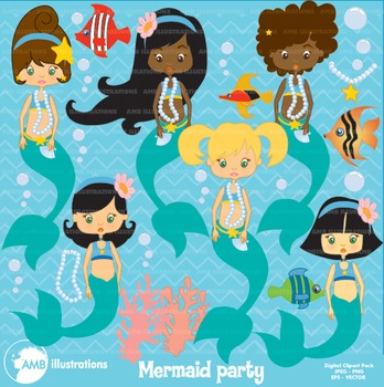 Mermaid Clipart, African American Clipart, Party clipart, AMB-208