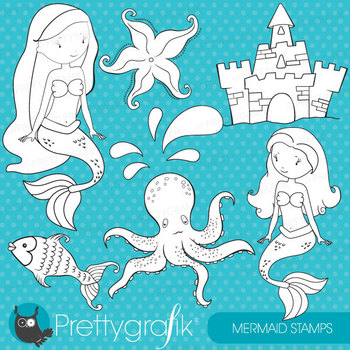 Mermaid stamps commercial use, vector graphics, images - DS458
