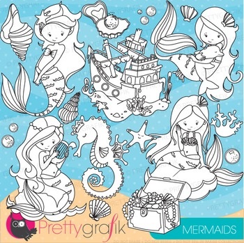 Mermaid stamps commercial use, vector graphics, images - DS741