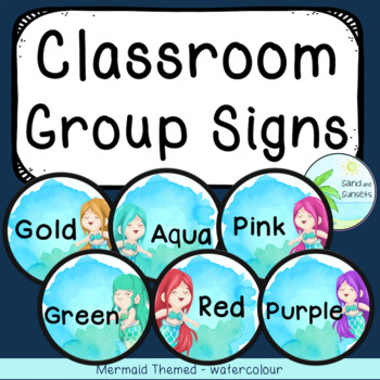Mermaid theme signs | Student grouping | Classroom Seating | Ocean theme