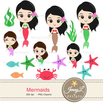 MermaidS digital paper and clipart