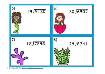 Mermaids 2 Digit Long Division with Remainders Task Cards