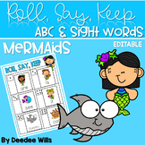 Mermaids! ABC & Sight Word Roll, Say, Keep-Editable