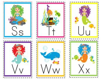 Mermaids ABC and 123 Flash Cards