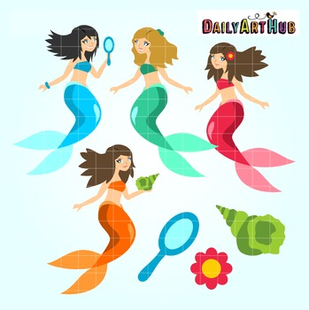Mermaids Clip Art - Great for Art Class Projects!